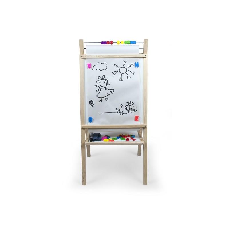 Detská magnetická tabuľa prírodná s hodinami