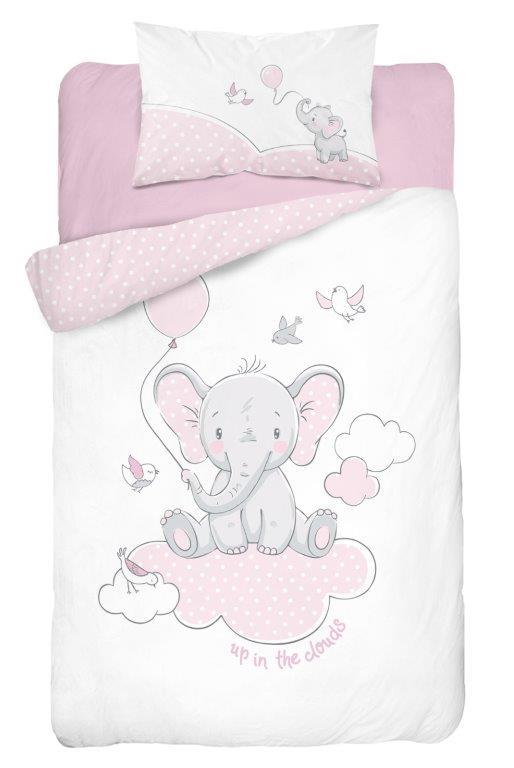 Detské obliečky Sloníka na obláčiku - ružové 135x100 cm